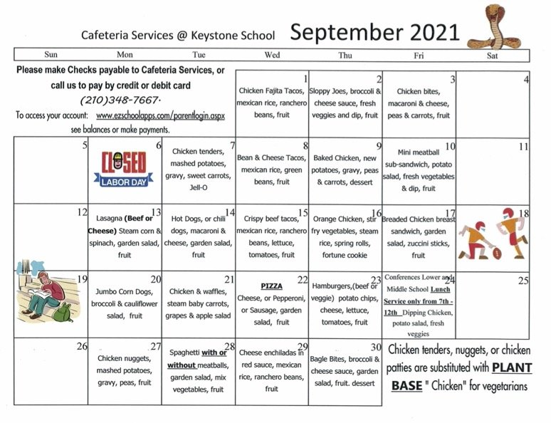 August lunch menus